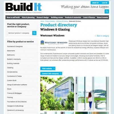 Westcoast Windows are listed on Build It self-build website