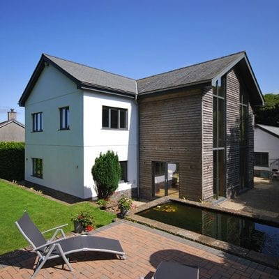 DSL South West supplied and fitted Westcoast Windows' energy efficient composite windows for an architect's contemporary self build home in Cornwall